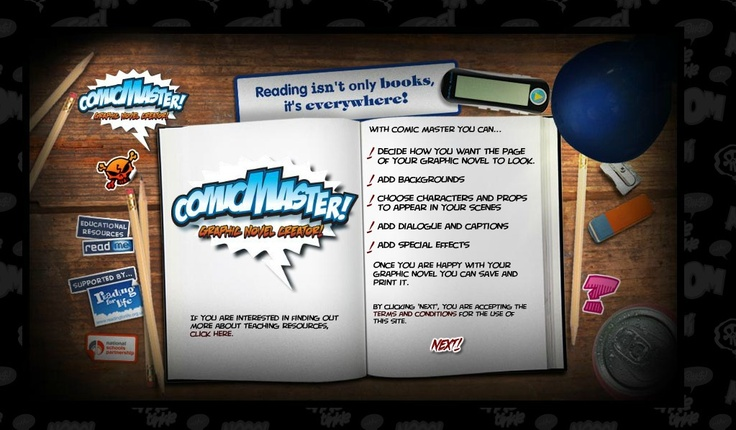 Comic Master allows you to create your own short graphic novel.