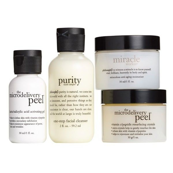 philosophy 'cleanse, peel, treat' trial kit (350 VEF) ❤ liked on Polyvore featuring beauty products, skincare, face care, face cleansers, fillers, beauty, makeup, no color, moisturizing face wash and philosophy face wash