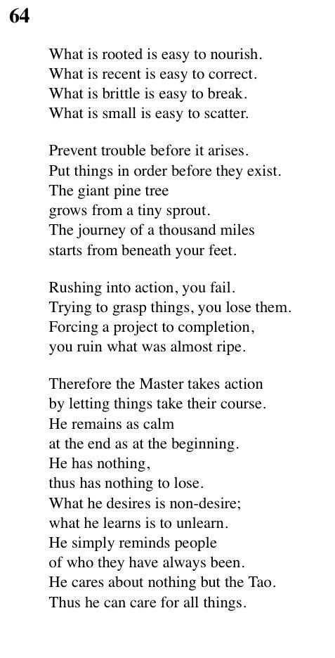 64 Tao Te Ching - Lao Tse (Lao Tzu)