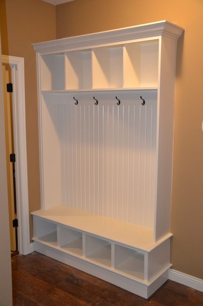 Entryway storage bench and wall cubbies woodworking Mudroom bench and hooks