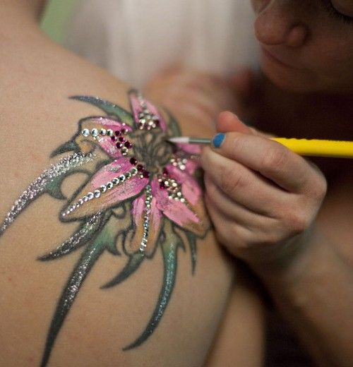 decorated tattoo for wedding or special event. Very cool!