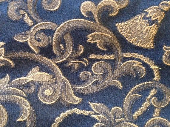 Blue and Gold Upholstery Weight Home Decor Fabric by yard