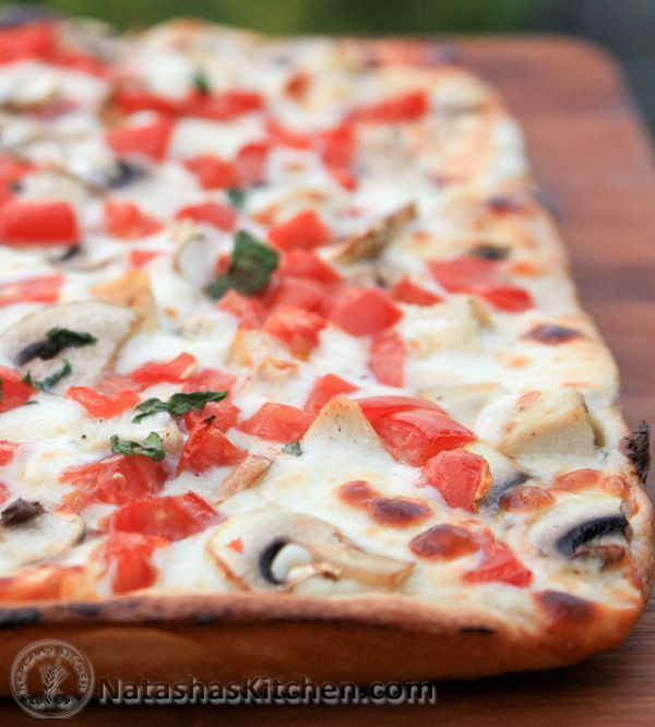 This is the white sauce pizza I promised you. I used the same crust as the California pizza. You may have noticed my recipe posting is a little slow. Four classes in summer keeps me on my toes and the first two weeks of it...