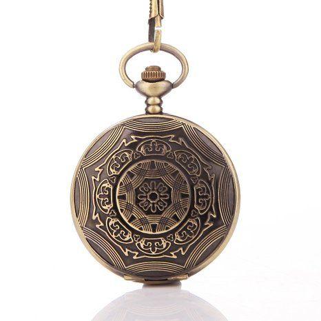 UNIQUEBELLA Retro Handaufzug mechanische Taschenuhr Skelett Uhr Antike Taschenuhr bronze #50