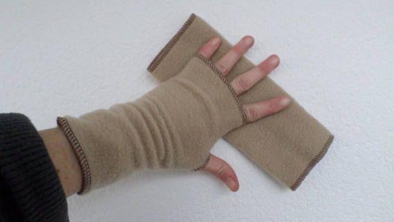 Mitaines gants polaire femme lin'eva douce agréable camel
