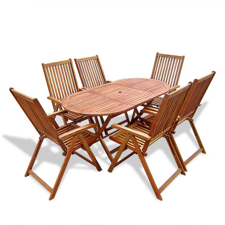 7PCS Patio Dining Room Sets Solid Wood Outdoor Garden Yard Furniture Seats 6 | eBay