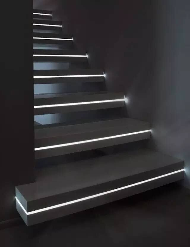 led stairway lighting. adding led light strips within the stairs would create an amazing lighting effect at night stairway