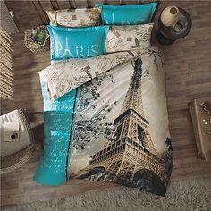 3D DOUBLE DUVET QUILT COVER SET PARIS IN LOVE 4 PCS Turquoise NEW EIFFEL TOWER