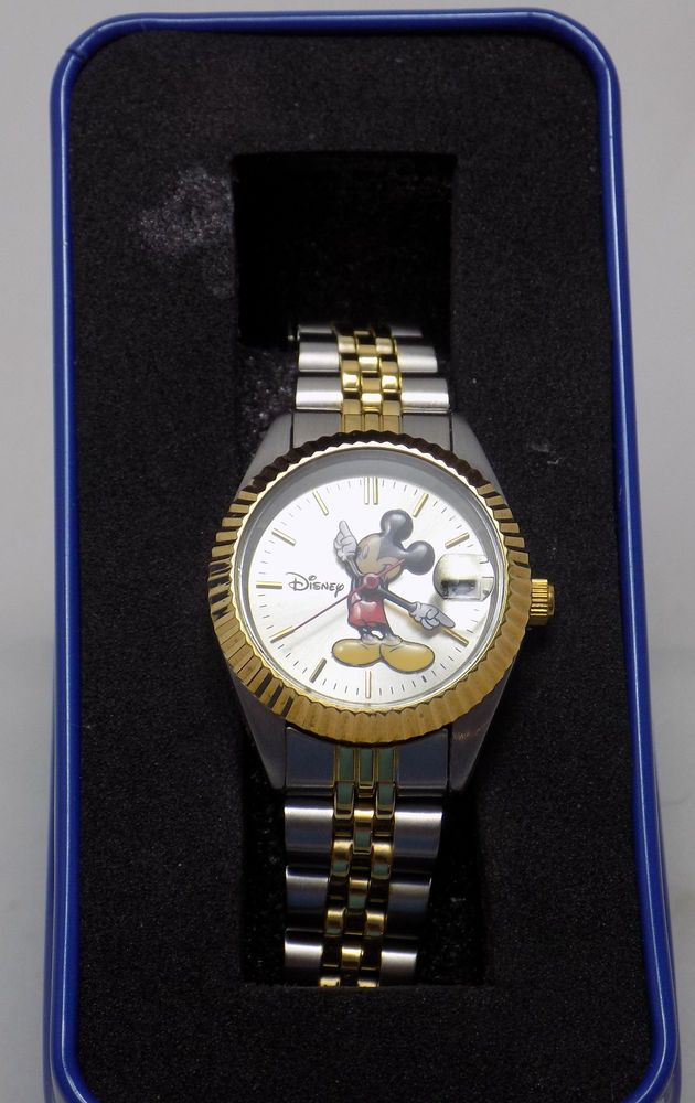 DISNEY MICKEY MOUSE Watch Womans Gold/Silver Tone NEW Staineless Steel Band