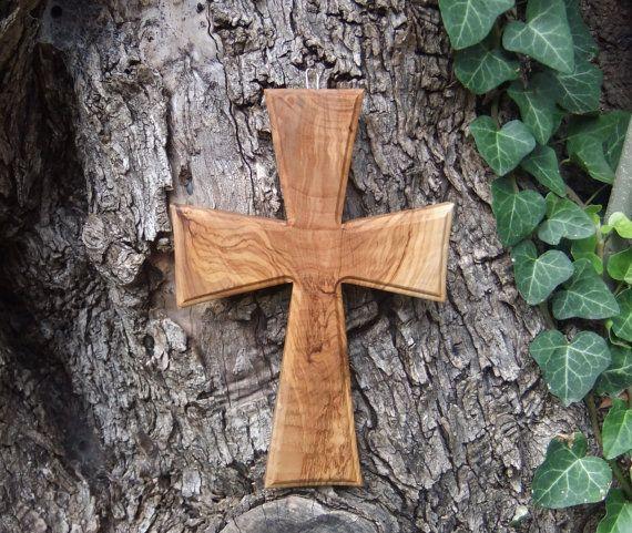 Cross solid olive wood Celtic style cross by ellenisworkshop