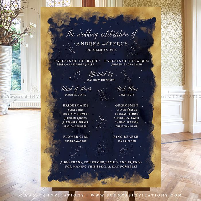 Constellation Starry Night Wedding Signs Decor, Stars Galaxy Celestial  Wedding Seating Chart, Constellation Table