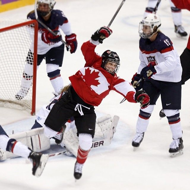 Marie-Philip Poulin celebrates her tying goal in the women's gold medal game against Team USA (John Lehmann)