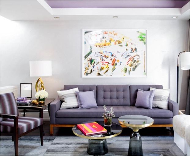 39 Wonderful Home Décor Ideas With Lavender Color : 39 Wonderful Home Décor  Ideas With Lavender Color And Dark Grey Sofa And Purple Pillow A. Part 22