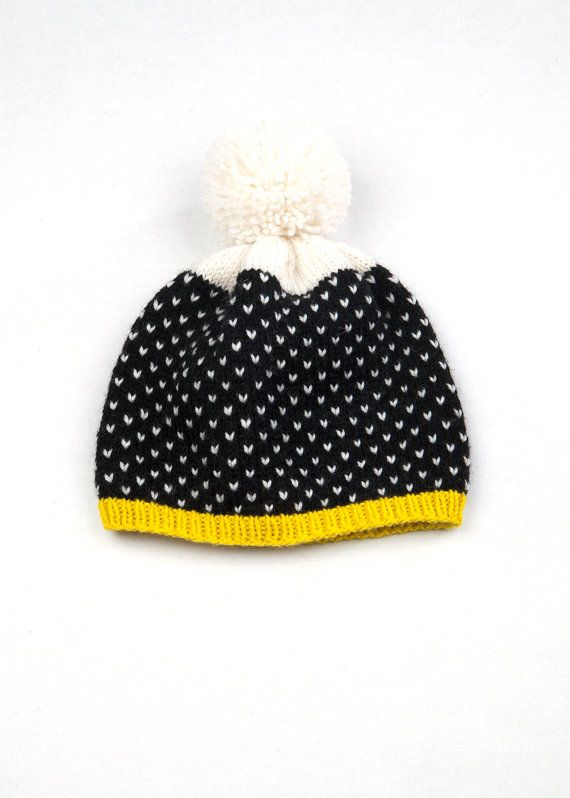 Patterned Pom Pom Beanie  Black & White Speckle    100% Peruvian Highland Wool    Designed and hand knit by textile designer, Lauren Mayhew.