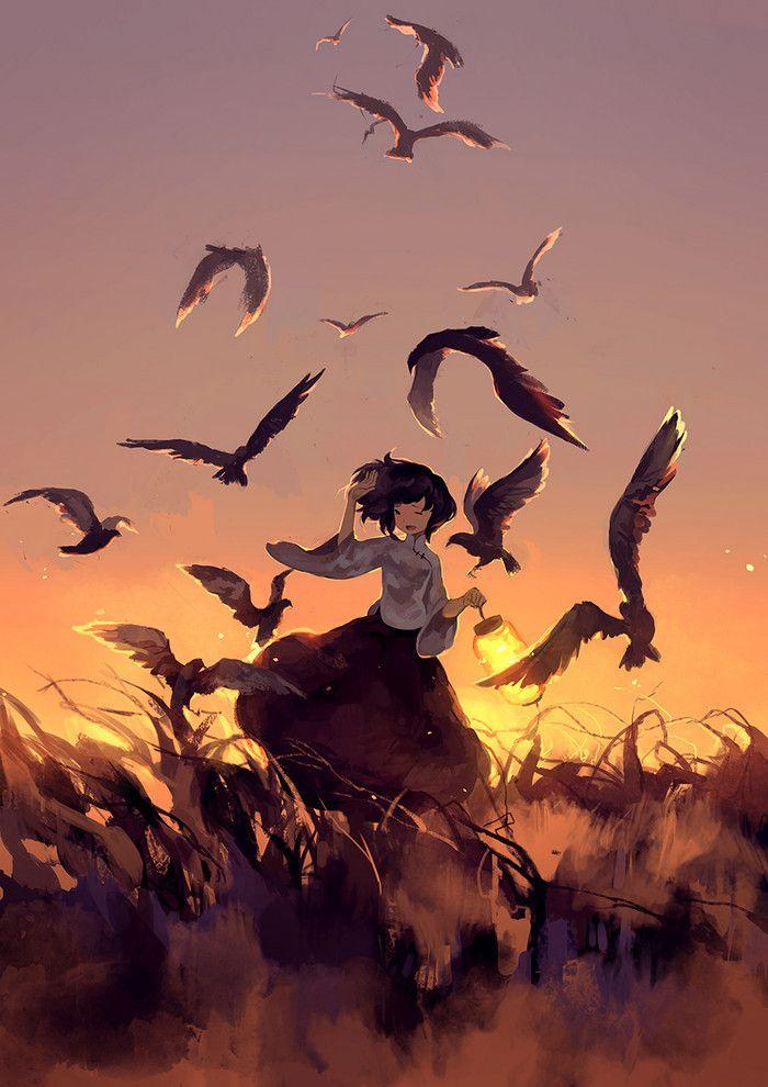#anime #illustration.... Birds... Sunset.... Girl.... Pretty.... Short hair....