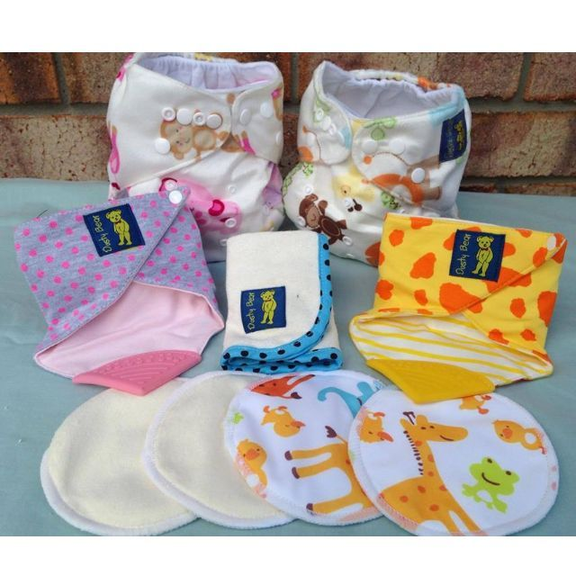 Jungle Booty Babies - $63.25 Including Postage1 Pink Jungle Cloth Nappy1 Jungle Cloth Nappy1 Pink Dots Teething Bandana Bib1 Giraffe Teething Bandana Bib1 Cream Pair of Breast Pads1 Elephant Pair of Breast Pads1 Blue Bamboo Wash Cloth