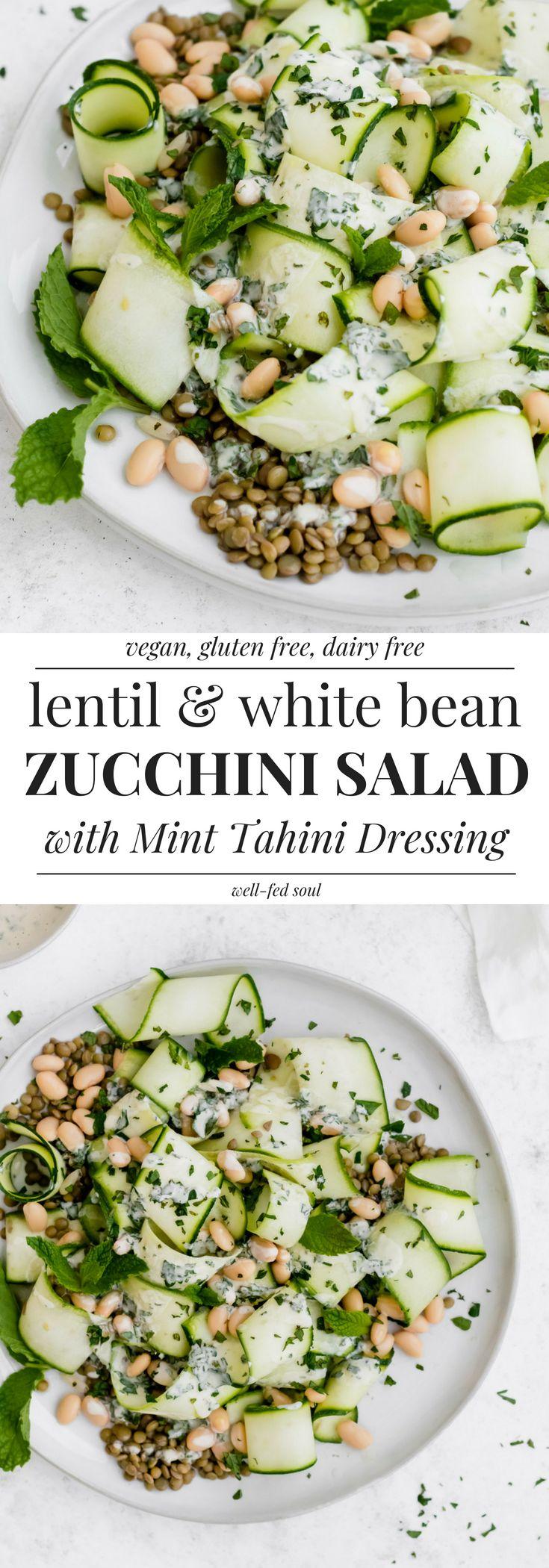Lentil Zucchini Ribbon Salad with Mint Tahini & White Beans