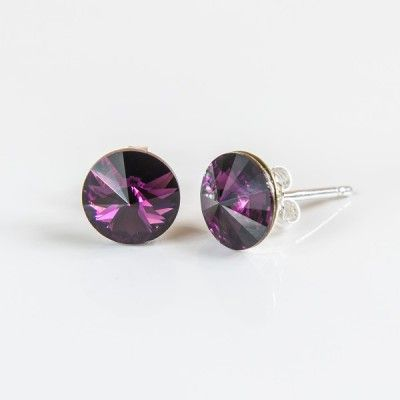 Swarovski Rivoli Earrings 8mm Amethyst  Dimensions: length:1,5cm stone size: 8mm Weight ~ 1,15g ( 1 pair ) Metal : sterling silver ( AG-925) Stones: Swarovski Elements 1122 SS39 ( 1122 8mm ) Colour: Amethyst 1 package = 1 pair Price 9.90 PLN( about`2,5 EUR)