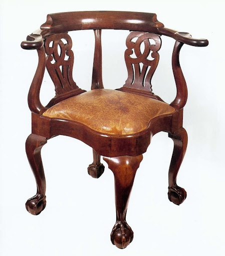 Chippendale mahogany corner chair with cabriole legs, claw & ball feet & incurvate arm supports, attributed to John Goddard, for one of the Brown brothers ...