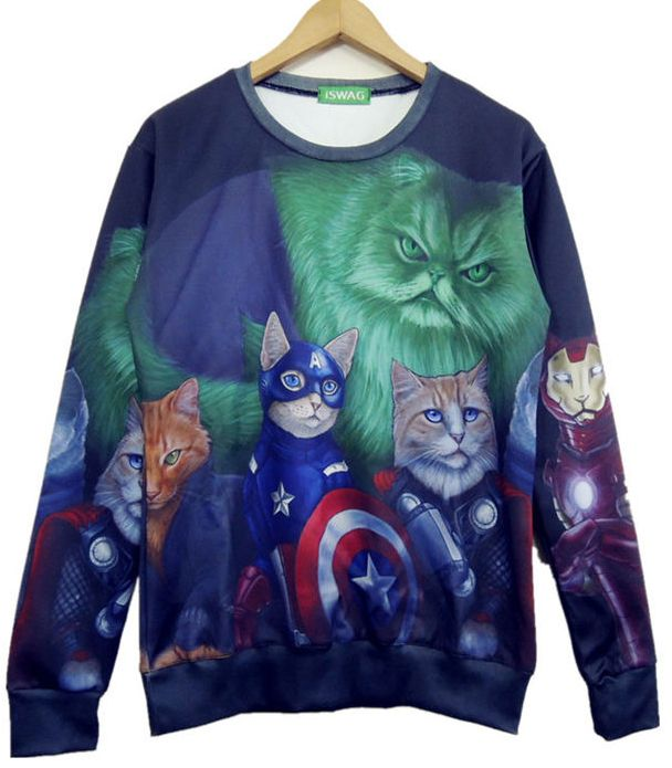 Multi Long Sleeve 3D Cat Print Sweatshirt - Fashion Clothing, Latest Street Fashion At Abaday.com
