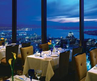 L'Astral is a revolving rooftop restaurant in Quebec City - where we ate on our honeymoon. Beautiful!