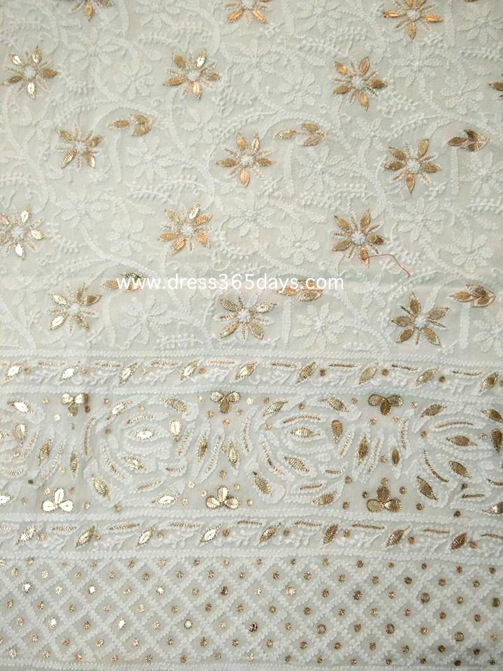 Off White Lucknowi Kurta Fabric with Gota Patti Work ( Kurta Only)
