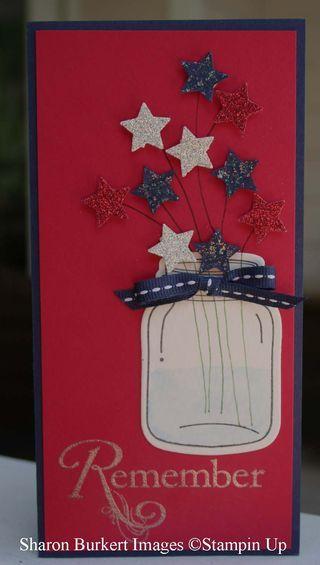 Patriotic jar-  Sharon BurkertInk Dry, Patriots Jars, July Cards, Blue Jars, Red White Blue, Jars Cards, Mason Jars, Blue Stars, 4Th Stars