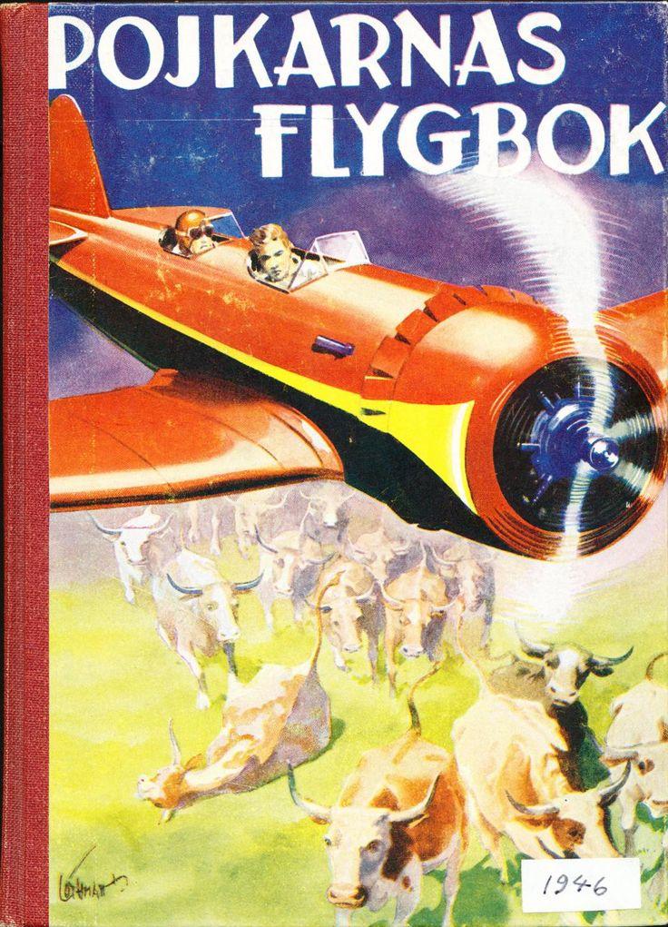 """Pojkarnas_flygbok_omslag Nå, omslagsbilden till denna Pojkarnas flygbok är lysande. Det är något visst med runda motorer ändå. Tecknaren hette Allan Löthman (1900-1969) och var en flitig illustratör av populärlitteratur, bl a omslag till """"Levande Livet"""" har jag lärt mig de sista dagarna. Han var amerikansk-influerad (bl a av Norman Rockwell) efter flera års verksamhet """"over there"""" och hade stor framgång i Sverige rent konstnärligt men rik blev han förstås inte.  Här litet om Löthman."""