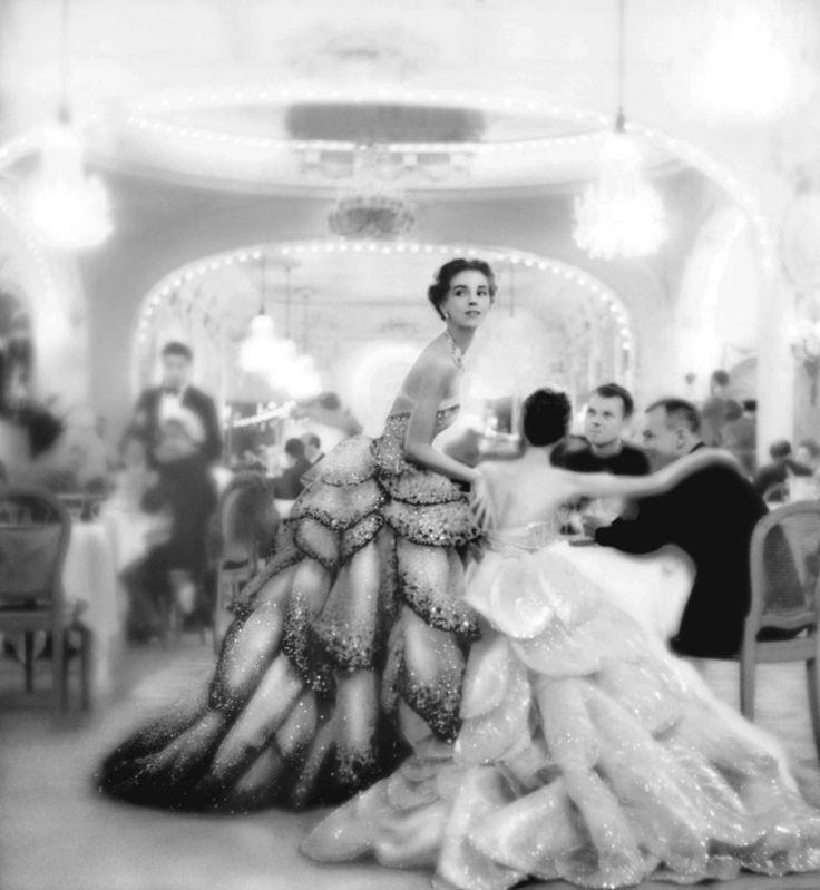 Theo Graham, evening dress by Dior, LePré Catalan, Paris, August 1949