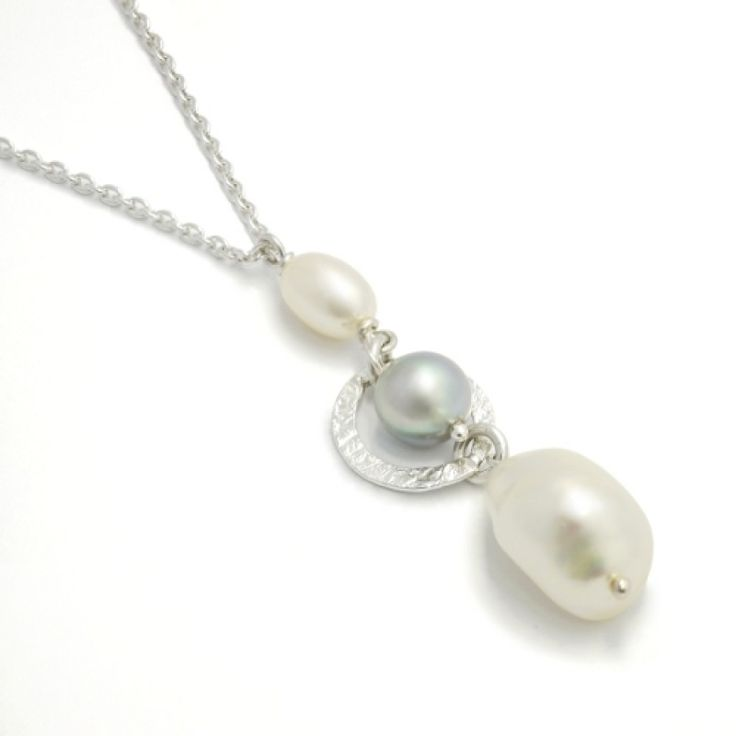Sweet Triple Pearl Pendant - Silver/Pearl #Catherinejones #cambridge #necklace #bracelet #pearls #jewellery #trends