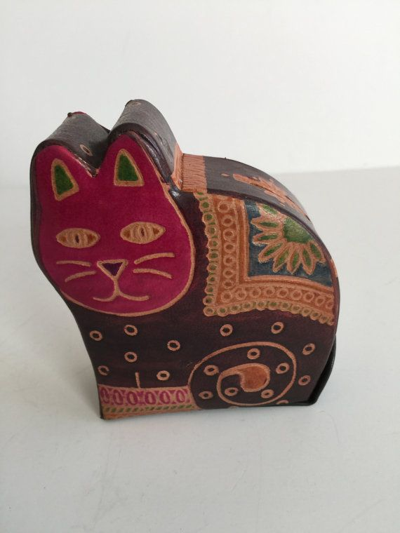 Hand made Leather Cat Coin Bank/Cat Piggy Bank/ Indian Pure