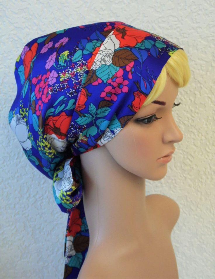 Satin hair bonnet, sleeping cap, bad hair day head cover, head snood for women, silky tichel, elegant apron style headscarf,  chemo hat by accessoriesbyrita on Etsy