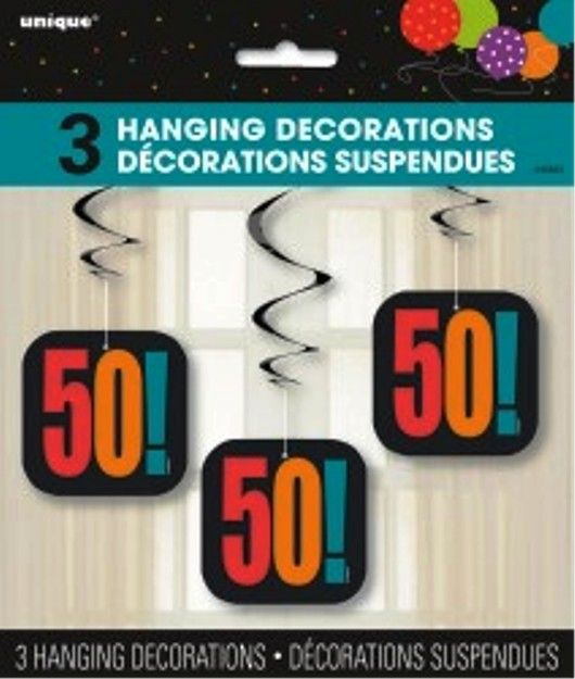 50th Birthday Cheer 50 Hanging Party Swirl Decoration - 3 Pack
