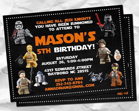 Lego Star Wars Invitation Star War Birthday Lego Party