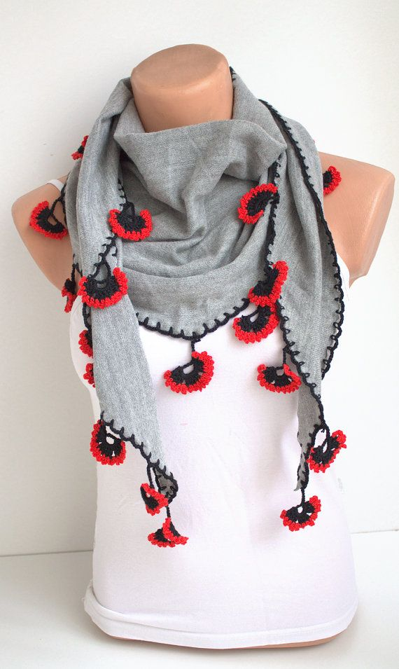 Grey Knitted Fabric Scarf with Crochet Red Poppy by fairstore, $48.00