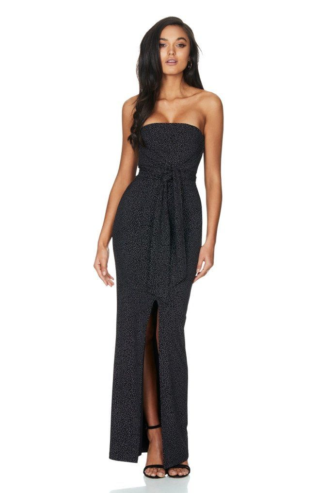 Nookie - Black Speck Royal Dynasty Gown Maxi Strapless Dress With Split