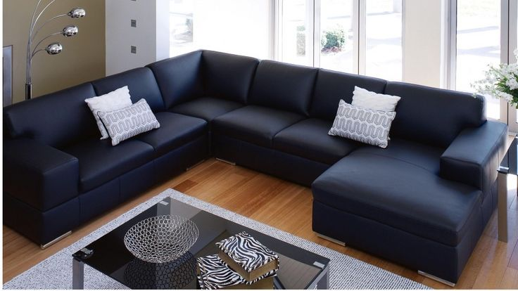 St henri leather corner lounge with chaise lounges - Harvey norman living room furniture ...