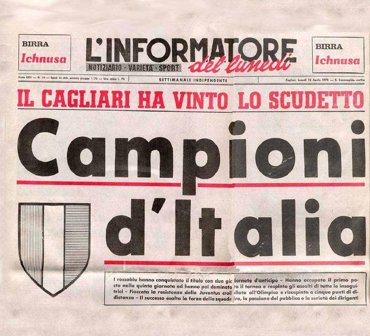 Recorte de periódico de la época, que da cuenta del campeonato ganado por el CAGLIARI CALCIO.