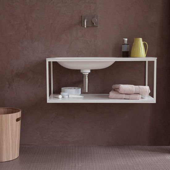 I'm looking for interesting ways to make my small bathroom work.  What do you think?: Small Bathroom, Bathroom Flooring, Floors Ideas, Bathroom Floors, Bathroom Sinks, Bathroom Ideas, Rubber Floors, Modern Bathrooms, Pink Bathroom