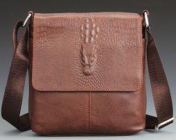 Pánska kožená taška cez rameno s motívom krokodíla vo svetlo hnedej farbe (3)