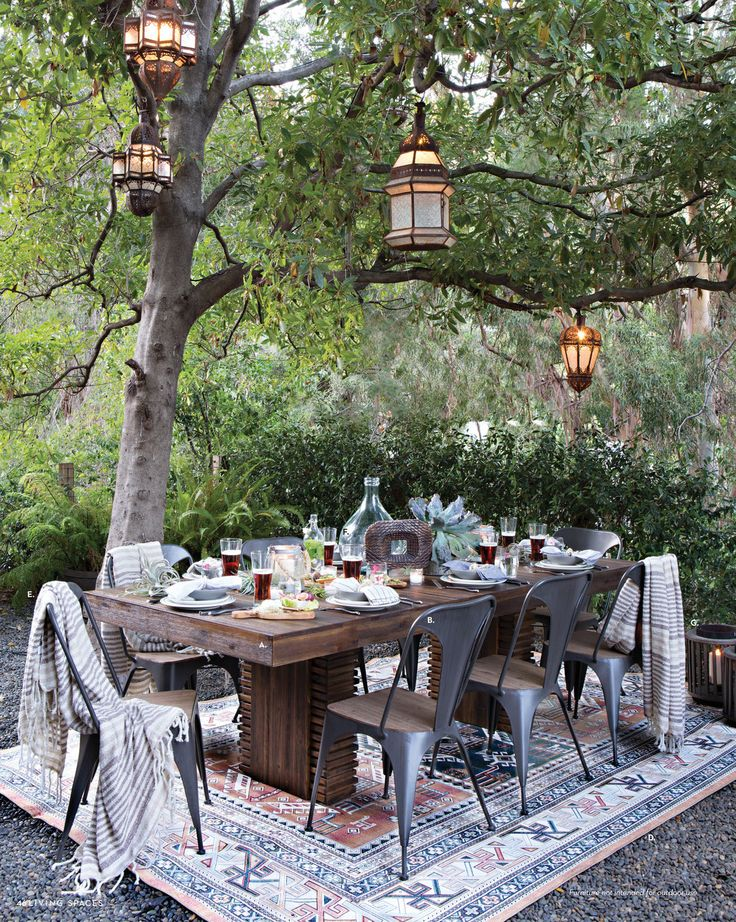 "I love the way they've used the outdoor rug to create a ""room"", reclaimed wood look and industrial Tolix type chairs to create a modern, casual place to dine."