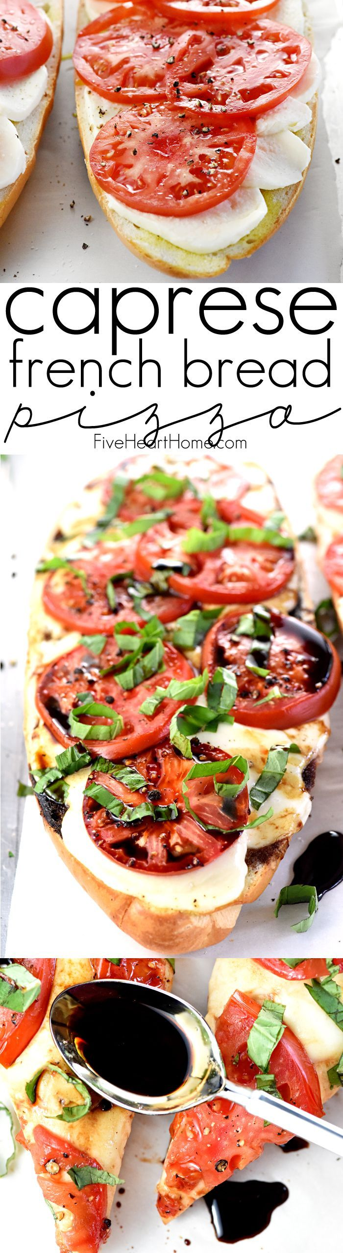 Caprese French Bread Pizza ~ this bursting-with-flavor recipe is brushed with garlic-infused olive oil, layered with fresh mozzarella and thinly-sliced…