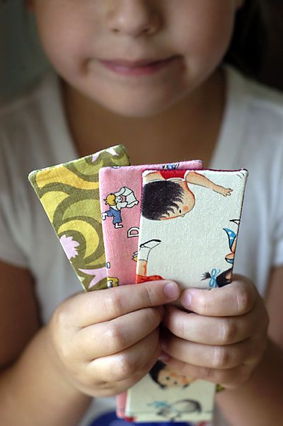 Fabric bookmarks - a first sewing project for the kids