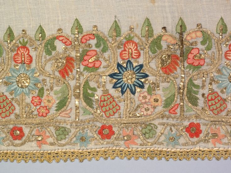 Turkey, plain weave: linen; embroidery, double-running stitch: silk, gilt-metal strips and thread, Average: 129.5 x 55.9 cm (50 15/16 x 22 in). Gift of Mr. and Mrs. J. H. Wade 1916.1251