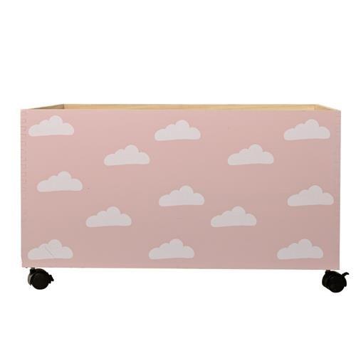Bloomingville Mini Lekekasse m/hjul, rosa/ skyer