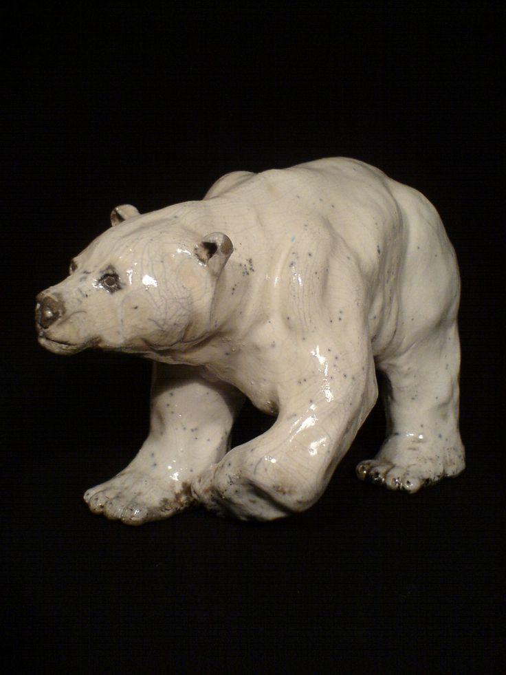 Raku sculpture of polar bear