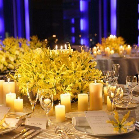 ペントハウスウエディング スカイホール|結婚式場写真「会場にはLEDライトも設置されているので最高の演出を彩ってくれる♪」 【みんなのウェディング】