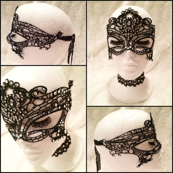 Black Crystal Crochet Masquerade Ball Mask. Burlesque Cabaret Vintage Costume Accessory