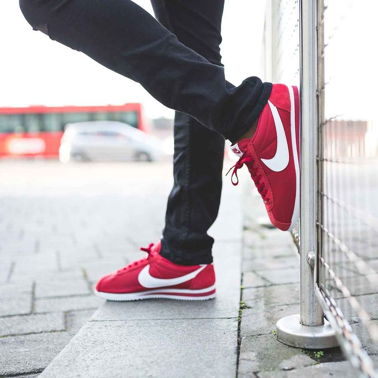 online store bc091 acebb nike cortez red on feet