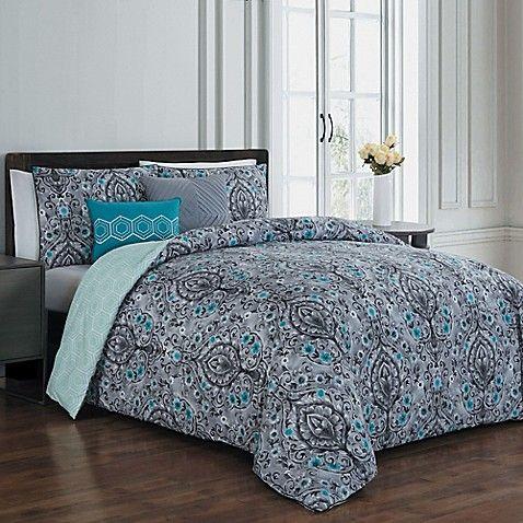 Avondale Manor Trista 5-Piece Reversible King Comforter Set in Teal/Grey